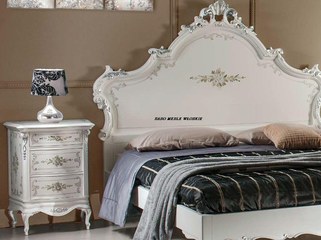 łóżko 180 Maniolino 2 Szafki Nocne Biało Srebrne Meble Sabo