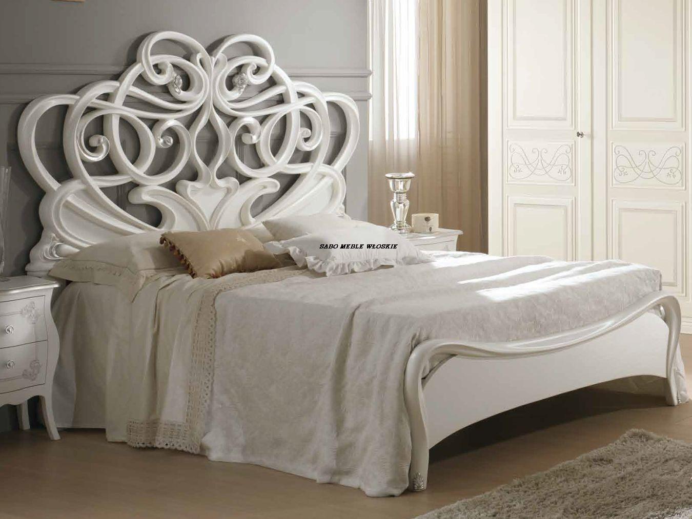 łóżko Capri180 2 Szafki Nocne Biało Srebrne Meble Sabo